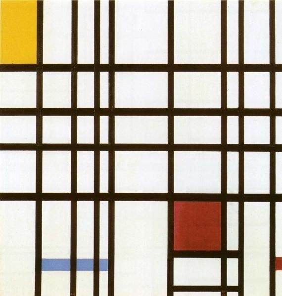 Mondrian, Compositie met rood, geel en blauw 1937-42