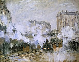 Exterior of Saint-Lazare train station, arrival of a train