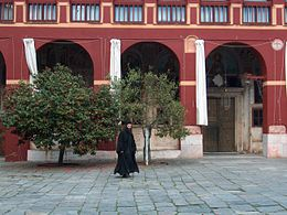 Monk walking in Vatopedi monastery court 2006