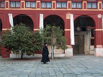 Vatopedi - Monk in Vatopedi monastery