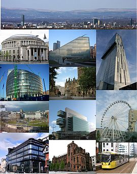 Montage of Manchester. From top-left: Central Library, Urbis, Beetham Tower, 1 Angel Square, Albert Square, Piccadilly Gardens, Civil Justice Centre, Wheel of Manchester, Express Building, Metrolink tram