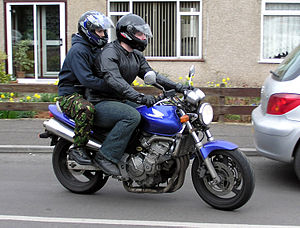 Pillion - Rider with pillion on a Honda CB600F