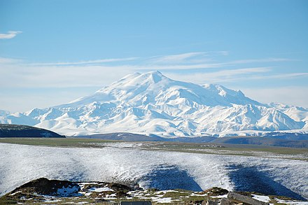 Mount Elbrus, a dormant volcano, is the highest mountain in Europe, Russia, the Caucasus and the tenth-most prominent peak in the world. Mount Elbrus May 2008.jpg