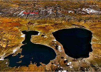 Lake Manasarovar - Satellite view of lakes Manasarovar (right) and Rakshastal with Mount Kailash in the background