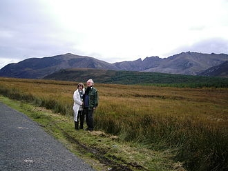 Sleeping Warrior - The Witches Step (helmeted head) and Caisteal Abhail (belly) from the north, with Suidhe Fhearghas at left (not part of Warrior)