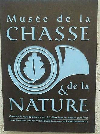 Musée de la Chasse et de la Nature - Image: Musee de la Chasse et de la Nature signage