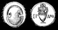 Mynt från Tebe med Epameinondas' namn på, Nordisk familjebok.png