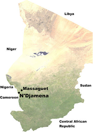 Battle of N'Djamena (2008) - Locations of N'Djamena and Massaguet in Chad