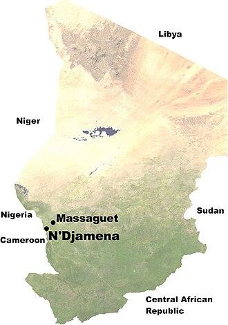 Battle of N'Djamena (2008) - Locations of N'Djamena and Massaguet in Chad