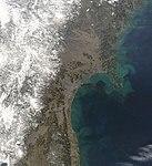 NASA Satellite View of Northeastern Japan on March 13, 2011 (detail) (5522576483).jpg
