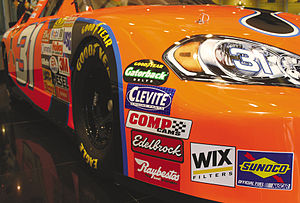 Sports marketing - Stickers on a NASCAR race car from companies with large advertising contracts.