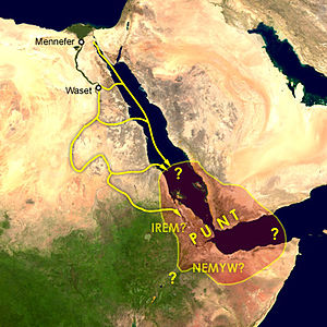 History of Somaliland - Supposed location around the Red Sea and major travel routes by land and sea