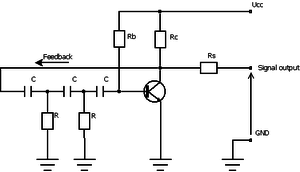 Phase-shift oscillator - Circuit diagram for phase-shift oscillator using a BJT