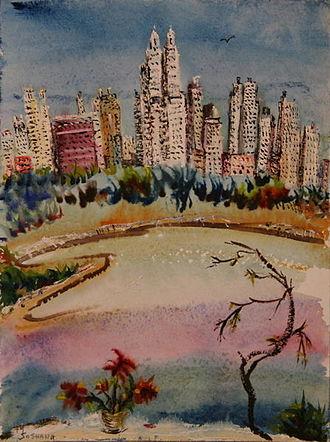 Soshana Afroyim - NY Central Park, gouache on paper, painted by Soshana, 1975
