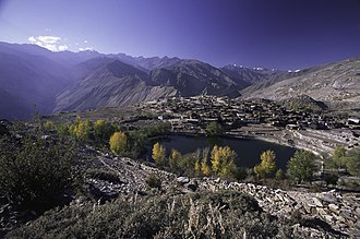 Kinnaur district - Himalayan landscape, Nako Lake and village shown