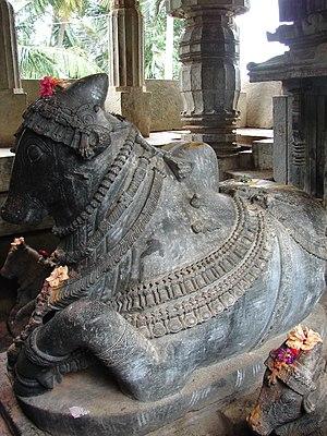 Brahmeshvara Temple, Kikkeri - decorative Nandi (bull) facing the shrine in Brahmaeshvara temple, Kikkeri