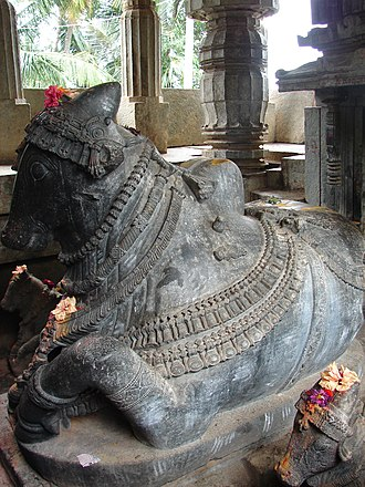 Brahmeshvara Temple, Kikkeri - decorative Nandi (bull) facing the shrine in Brahmaeshvara temple, Kikkeri