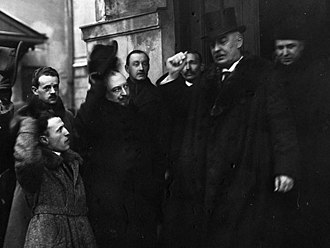 Gabriel Narutowicz - Narutowicz leaving the Polish Sejm after being proclaimed president, 11 December 1922