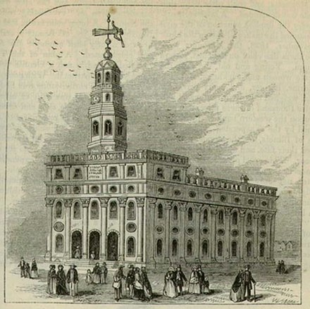 Smith planned the construction of the Nauvoo Temple, which was completed after his death. NauvooTemple.jpg