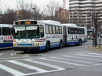 Neoplan USA - A Diesel-powered AN460 standard-floor of WMATA Metrobus in Silver Spring, Maryland