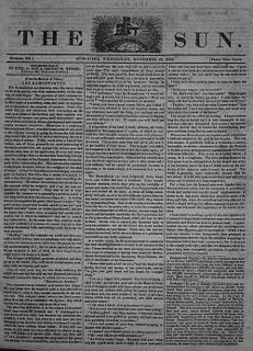 <i>The Sun</i> (New York City) New York newspaper that was published from 1833 until 1950