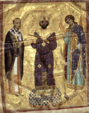 The Byzantine emperor Nicephorus III receives a book of sermons from John Chrysostom, the Archangel Michael stands on his left (11th cent. illuminated manuscript).