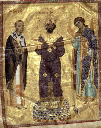 John Chrysostom - The Byzantine emperor Nicephorus III receives a book of homilies from John Chrysostom; the Archangel Michael stands on his left (11th-century illuminated manuscript).