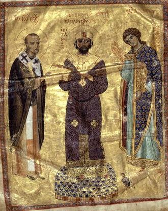 John Chrysostom - The Byzantine emperor Nicephorus III receives a book of homilies from John Chrysostom; the Archangel Michael stands on his left (11th-century illuminated manuscript).