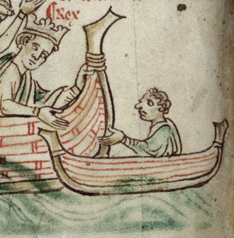 Nicholas de Moels - Nicholas de Moels, Seneschal of Gascony, in a small boat bidding farewell to King Henry III as he sails back to England in 1243. Detail of illumination by Matthew Paris