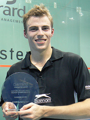 Nick Matthew - Nick Matthew holding his 2006 British Grand Prix Squash Championships trophy