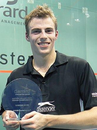 Nick Matthew - Nick Matthew holding his 2006 British Grand Prix Squash Championships trophy