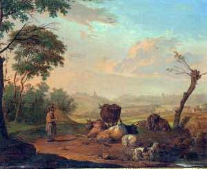 Nicolas Henri Joseph de Fassin - Image: Nicolas de Fassin, Jonge herder die het vee drenkt, 1769