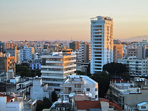 Economy of Cyprus - Image: Nicosia panoramic view Cyprus Tower 25 Jean Nouvel