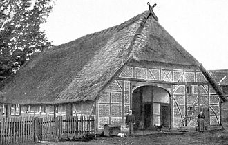 Low German house - Historic photo (ca. 1895) of a thatched Fachhallenhaus in Ausbüttel near Gifhorn, built in 1779