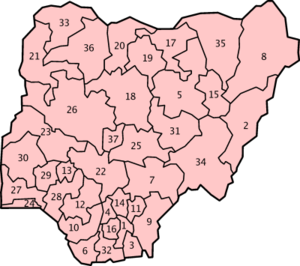 Numbered maps of the 36 States of Nigeria, in ...