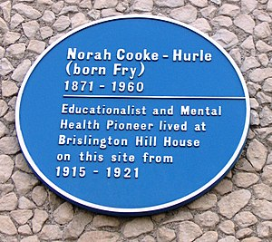 Fry family (chocolate) - Blue Plaque for Norah Cooke-Hurle in Brislington.
