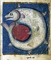 Raffigurazione del Leviatano dalla Miscellanea ebraica del Nord della Francia. 1278 circa.