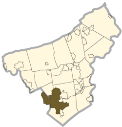 Location in Lehigh and Northampton Counties, پنسلوانیا