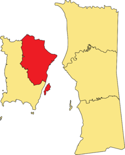 Location of Northeast District within the state of Penang.