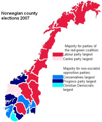 Norwegian local elections, 2007 - Election results by county