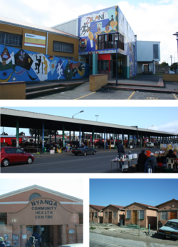 Top: Zolani Recreational Centre. Middle: Nyanga taxi rank. Bottom left: Nyanga Community Health Centre. Bottom right: government built RDP houses.