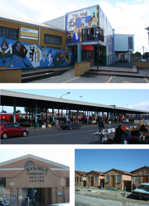 Nyanga, Cape Town - Top: Zolani Recreational Centre. Middle: Nyanga taxi rank. Bottom left: Nyanga Community Health Centre Bottom right: government built RDP houses that are common in the area.