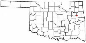 Fort Gibson, Oklahoma - Image: OK Map doton Fort Gibson