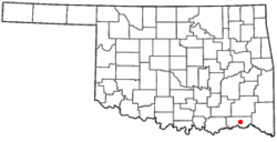 Location of Hugo, Oklahoma