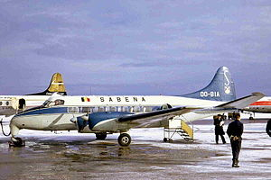 Rotterdam The Hague Airport - A Sabena de Havilland Heron at the airport in 1968