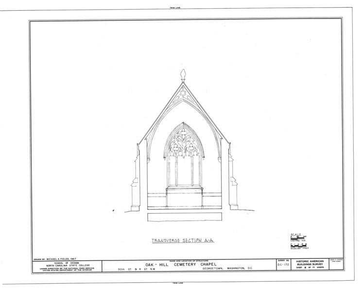 File:Oak Hill Cemetery, Chapel, 3001 R Street Northwest, Northeast of gatehouse, Washington, District of Columbia, DC HABS DC,GEO,41B- (sheet 8 of 14).png