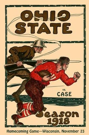 Case Western Reserve Spartans football - Ohio State vs Case 11/9/1918.  Military images were common on football programs during World War I.