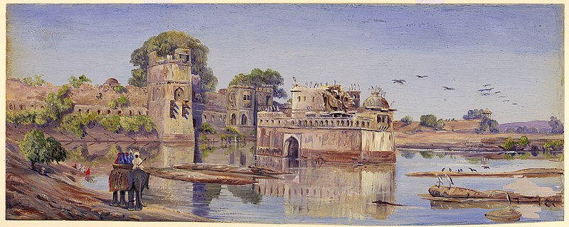 File:Oil painting of Padmini's palace in the fort in the midst of the tank_fa_rszd.jpg