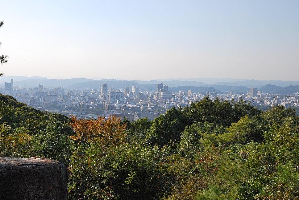 Okayama city view from Sankunjinja remains