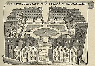 Old Square, Birmingham - William Westley's print of Old Square in 1732